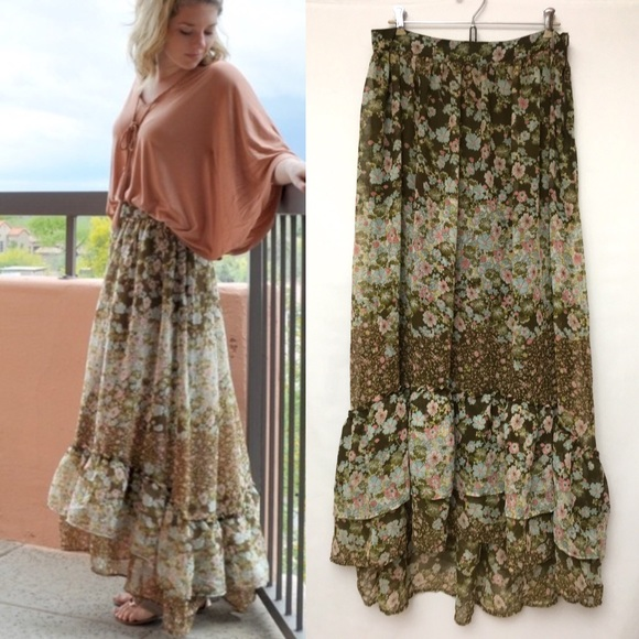 f5a352c66ee H&M Skirts | Hm Tiered Floral Maxi Skirt Peasant Boho Green | Poshmark